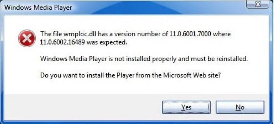 Текст на картинке: Файл wmploc.dll версии 11.0.6001.7000. Для работы необходим файл версии 11.0.6002.16489. Windows Media Player установлен неправильно и нуждается в переустановке. Вы хотите установить Player с официального сайта Microsoft?